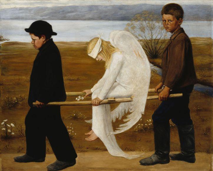 1543327378577_025 Hugo Simberg Haavoittunut enkeli de gewonde engel 1903 Olieverf op doek 127 x 154 cm Ateneum Art Museum Helsinki